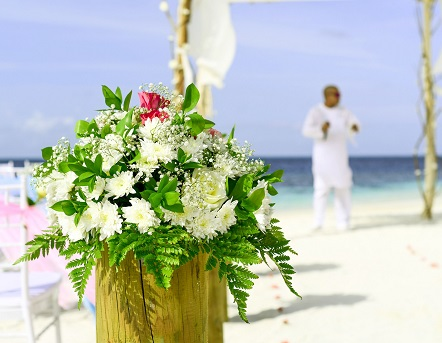 wedding flowers on the sand